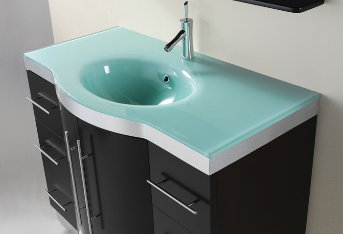 ensemble includes wood framed mirror faucet and