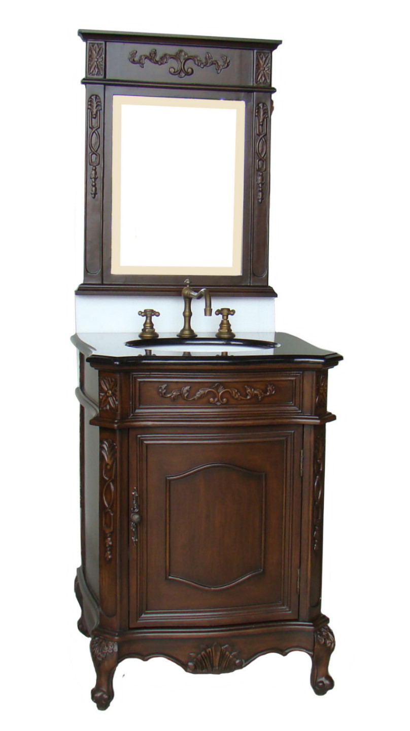 24 Inch Susan Vanity Dark Brown Vanity Black Top Vanity