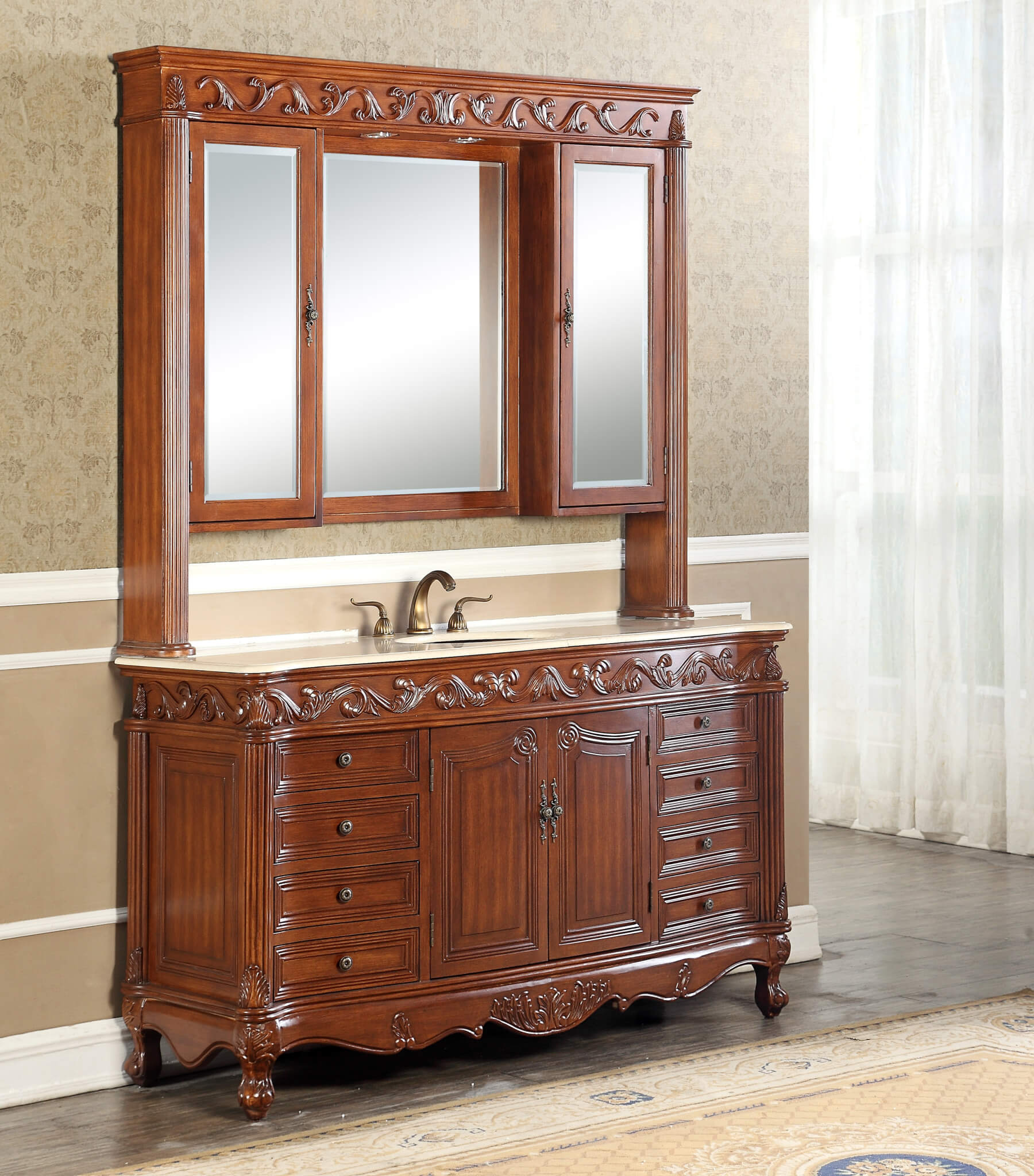 60-Inch Welsh Vanity | Single Sink Vanity | Vanity with Hutch