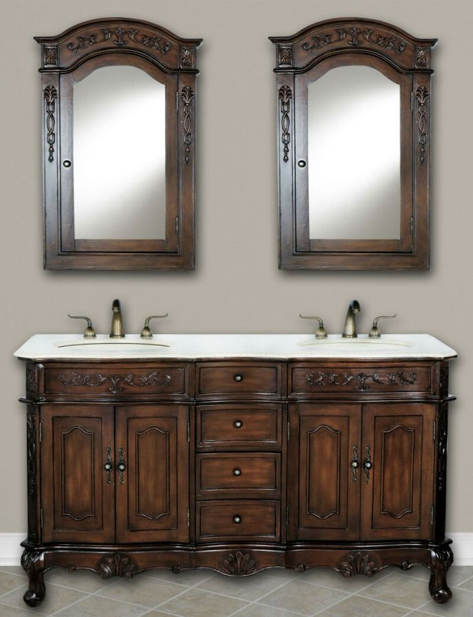 60 Silvana Vanity 60inch Double Sink Chest Antique