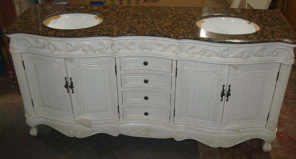 73 inch mayfield vanity double sink vanity antique for Antique white double sink bathroom vanities