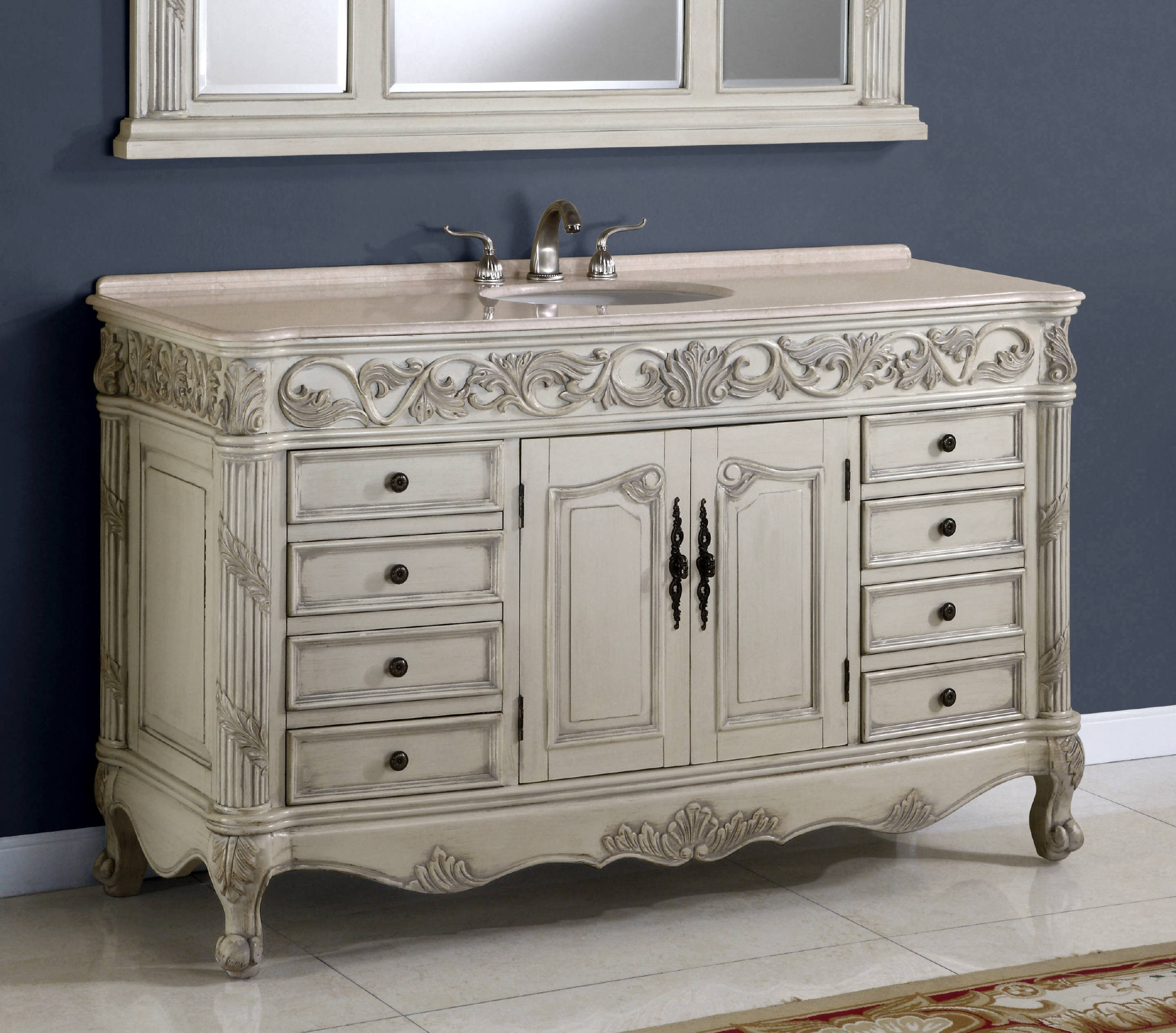 60 Inch Regent Vanity Single Sink Vanity Vanity With Mirror