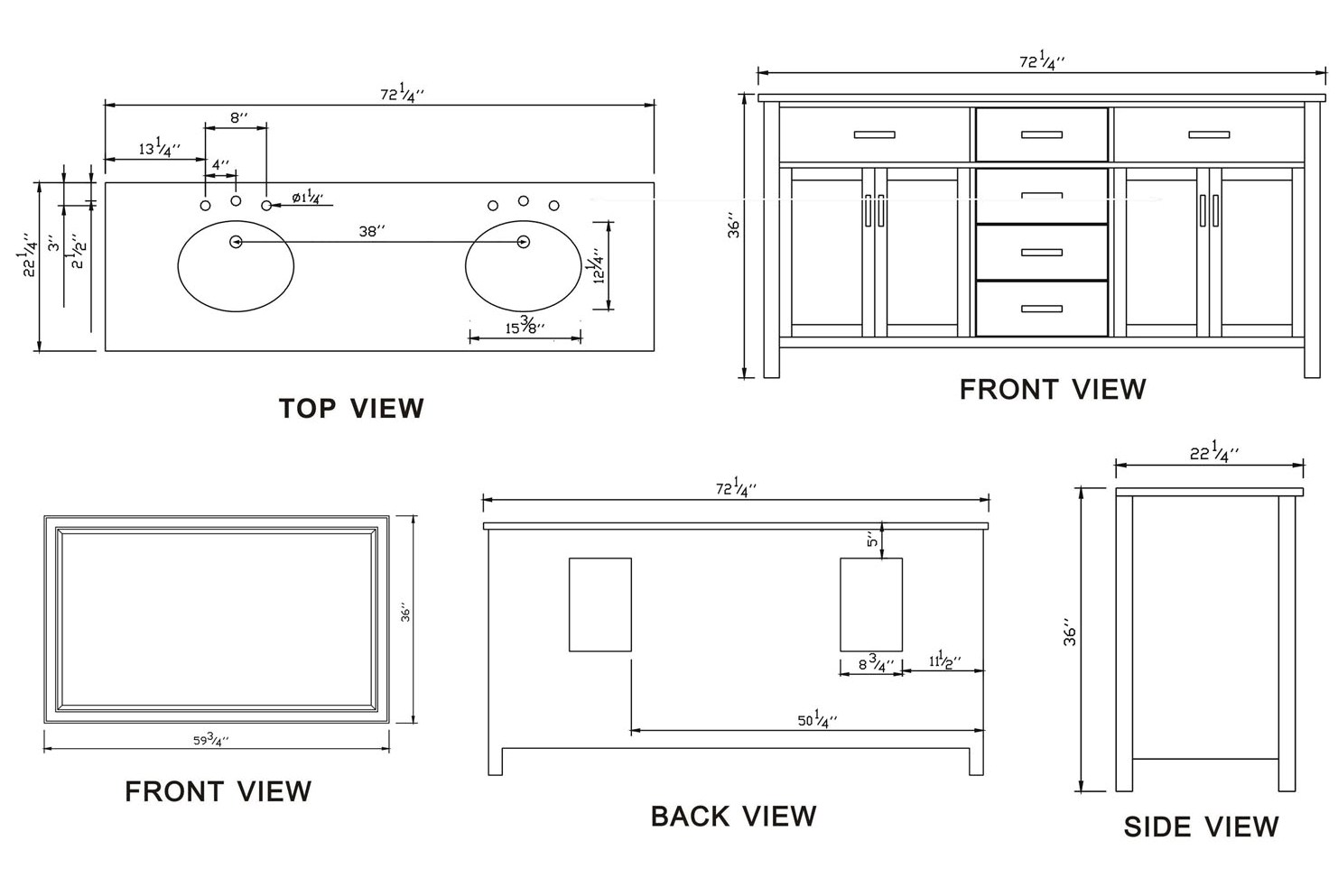 Double Bathroom Sink Dimensions